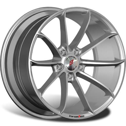 R19 5x114,3 8,5J ET45 D67,1 INFORGED IFG18 Silver лого IFG (S+RED, 64 мм)